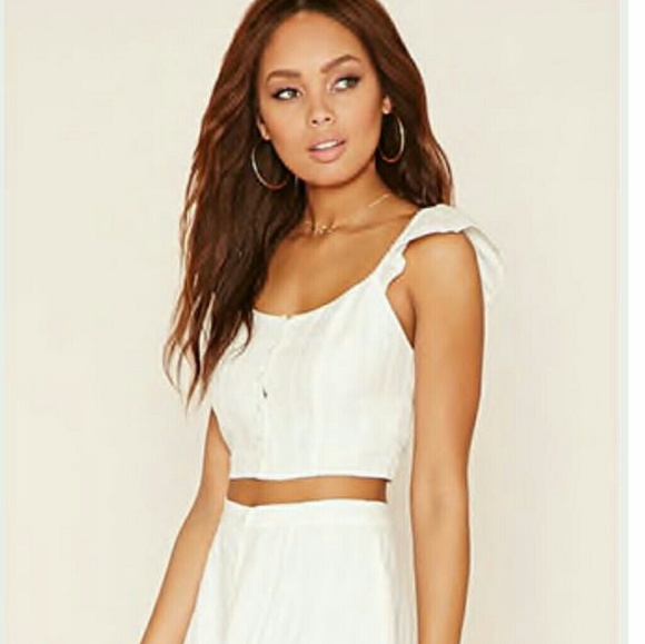 775b4362eb98e Button Front Crop Top. NWT. Forever 21